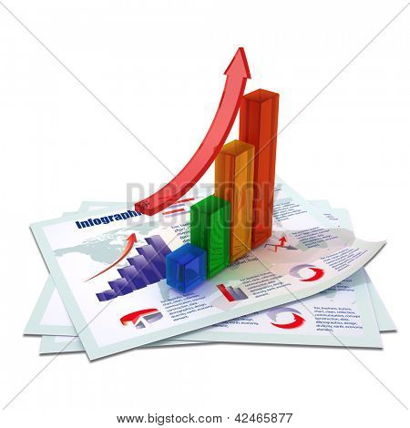 color growing bar chart with red arrow on documents with color graph, charts, diagrams and financial data isolated on white background