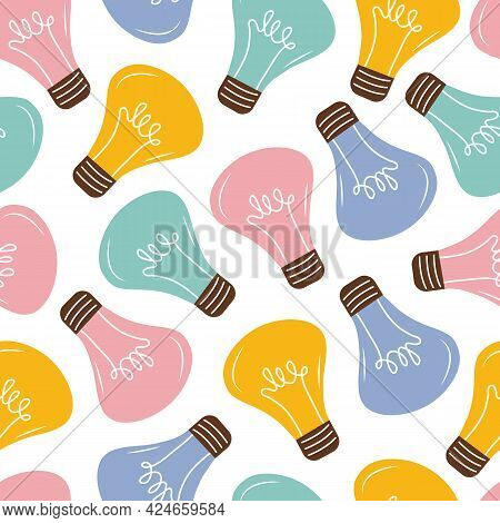 Colored Burning Light Bulbs Seamless Pattern. Background Of Bright Shining Light Bulbs In Pink, Yell