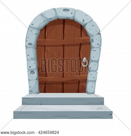 Stone Arch With Wooden Door, Castle Gate In Cartoon Style Isolated On White Background. Ancient, Med