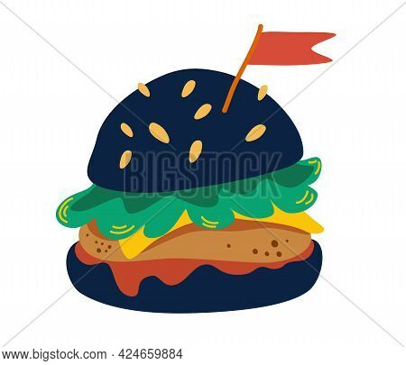 Burger On Black Bun. Black Burger With Cutlet, Cheese, Tomato, Lettuce And A Flag. Flat Design For M