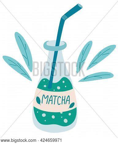 Bottle Of Matcha Tea. Glass Bottle Full Of Green Matcha Drink. Traditional Natural Asian Beverage. R