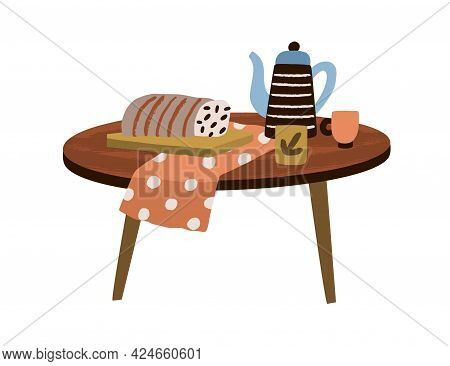 Wooden Round Coffee Table With Teapot, Tea Cup And Cake For Cozy Home Interior Design. Modern Stylis