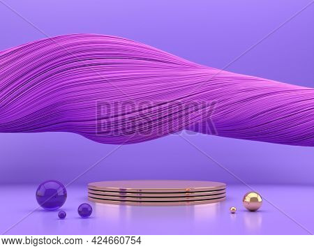 Abstract violet stage podium for product, 3D illustration, rendering.