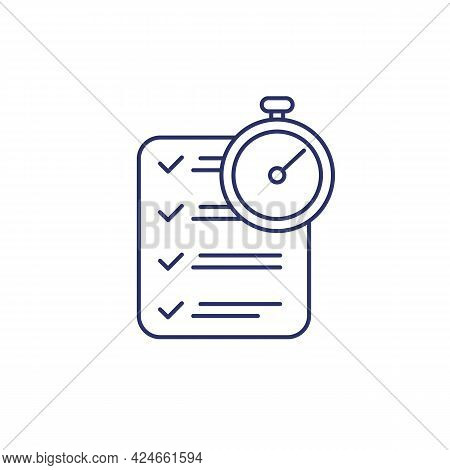 Chronometer And Checklist Line Icon On Dark