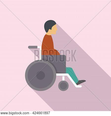Man In Wheelchair Icon. Flat Illustration Of Man In Wheelchair Vector Icon For Web Design
