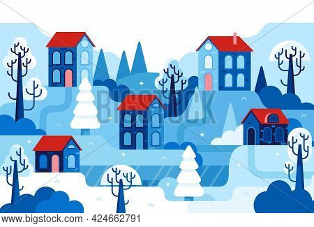 Winter Landscape With Ice Lake And Houses With Red Roofs - Vector Flat Cartoon Illustration