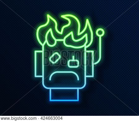 Glowing Neon Line Robot Burned Out Icon Isolated On Blue Background. Vector
