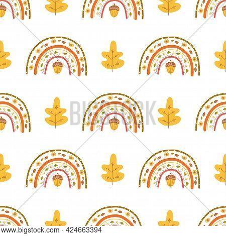 Fall Rainbow Pattern, Fall Leaves, Acorn Cute Autumn Seamless Background For Fall Season. Thanksgivi