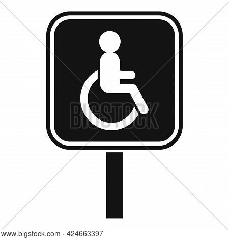 Handicapped Road Sign Icon. Simple Illustration Of Handicapped Road Sign Vector Icon For Web Design
