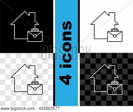Set Line Online Working Icon Isolated On Black And White, Transparent Background. Freelancer Man Wor