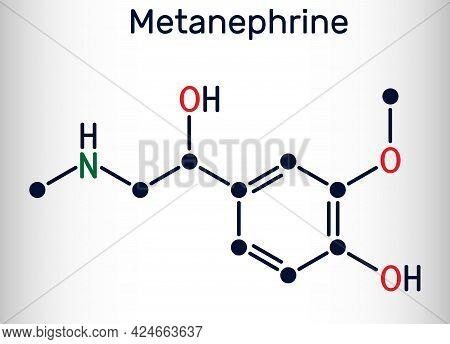 Metanephrine Molecule. It Is Metabolite Of Epinephrine, Adrenaline, Biomarker For Pheochromocytoma.