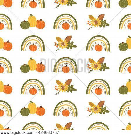 Fall Rainbow Pumpkin Pattern. Cute Autumn Seamless Background. Kids Autumn Rainbow. Baby Pumpkin. Th