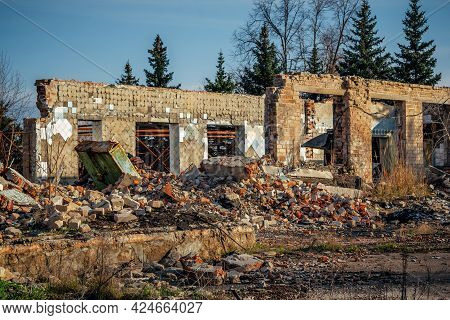 View Of Old Ruined Brick House. Abandoned Building Ruins.