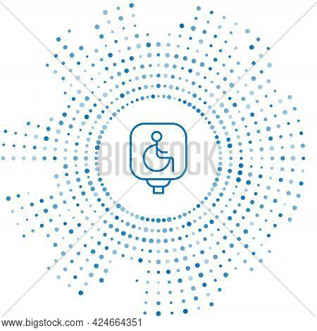 Blue Line Disabled Wheelchair Icon Isolated On White Background. Disabled Handicap Sign. Abstract Ci