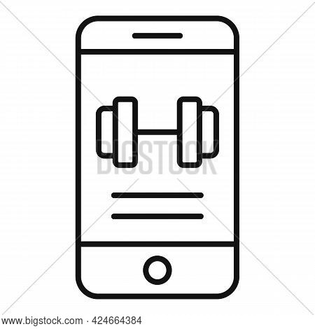 Home Training Phone App Icon. Outline Home Training Phone App Vector Icon For Web Design Isolated On
