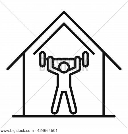 Home Training Barbell Icon. Outline Home Training Barbell Vector Icon For Web Design Isolated On Whi