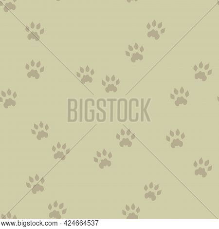 Vector Wild Animal Paw Prints On Moss Green Seamless Pattern Background. Perfect For Fabric, Scrapbo