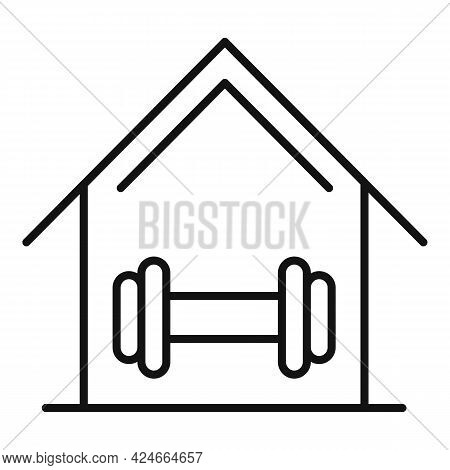 Home Training Metal Dumbbell Icon. Outline Home Training Metal Dumbbell Vector Icon For Web Design I