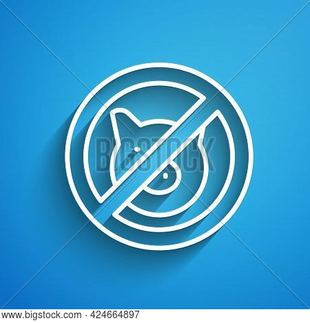 White Line No Pig Icon Isolated On Blue Background. Stop Pork. Animal Symbol. Long Shadow. Vector