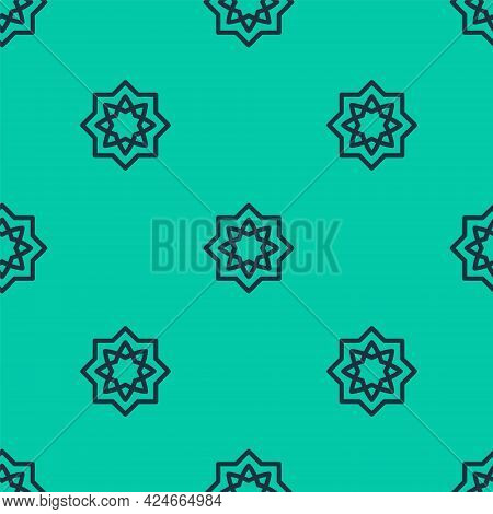 Blue Line Islamic Octagonal Star Ornament Icon Isolated Seamless Pattern On Green Background. Vector