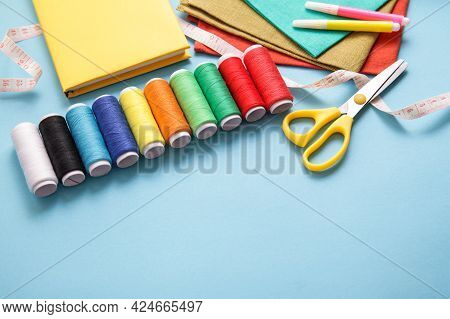 Sewing Course. Sewing Background, Copy Space. Tools For Sew, Multicolor Threads. Diy Learn To Sew