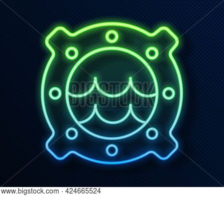 Glowing Neon Line Ship Porthole With Rivets And Seascape Outside Icon Isolated On Blue Background. V