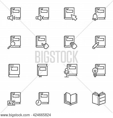Books Line Icons Set, Education Outline Vector Symbol Collection, Linear Style Pictogram Pack. Signs
