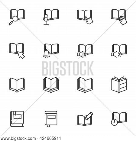 Book Pages Line Icons Set, Education Outline Vector Symbol Collection, Linear Style Pictogram Pack.