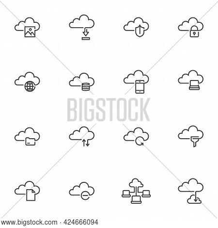 Cloud Data Line Icons Set, Outline Vector Symbol Collection, Linear Style Pictogram Pack. Signs, Log