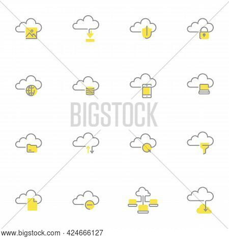 Computer Cloud Storage Line Icons Set, Outline Vector Symbol Collection, Linear Style Pictogram Pack