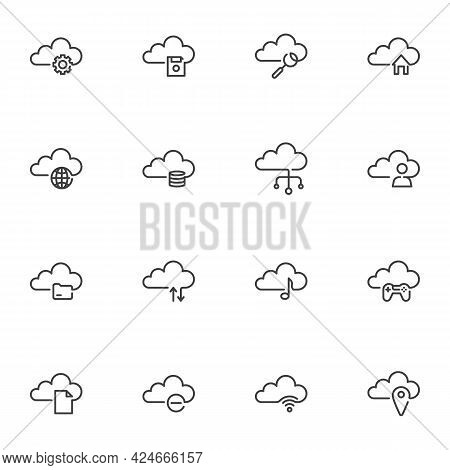 Cloud Storage Line Icons Set, Outline Vector Symbol Collection, Linear Style Pictogram Pack. Signs,