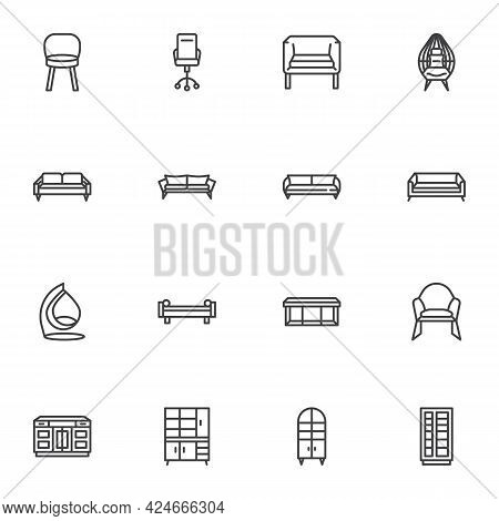 Furniture Line Icons Set, Outline Vector Symbol Collection, Linear Style Pictogram Pack. Signs Logo