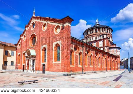 Milano, Italy. Church Santa Maria Delle Grazie  In Milan, Famous For Hosting Leonardo Da Vinci Maste