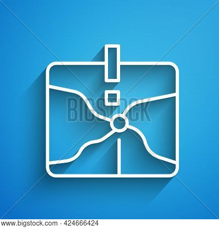 White Line Intersection Point Icon Isolated On Blue Background. Long Shadow. Vector
