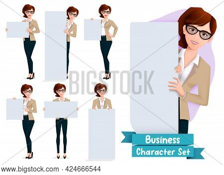 Business Woman Presentation Character Vector Set. Businesswoman Characters In Presenting Pose And Ge