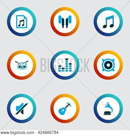 Audio Icons Colored Set With Phonograph, Earphone, File And Other Gramophone Elements. Isolated Vect