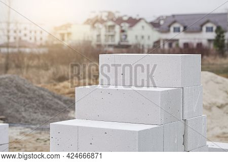 Aerated Concrete On House Background. Unfinished House Wall Made From White Aerated Autoclaved Concr