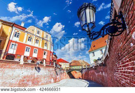 Sibiu, Romania. Historical Downtown Of Medieval Saxon City In Transylvania, Travel Site In Eastern E