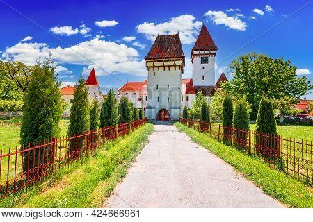 Agnita, Romania. Medieval Saxon Church In Transylvania, Heritage Site Of Eastern Europe.