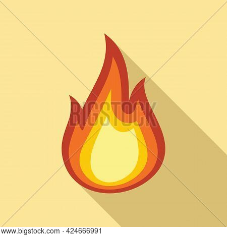 Fire Flame Torch Icon. Flat Illustration Of Fire Flame Torch Vector Icon For Web Design