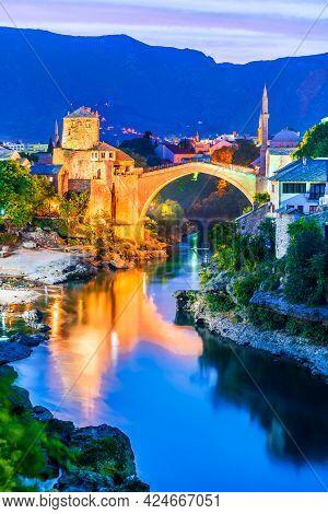 Mostar, Bosnia And Herzegovina. Ottoman Bridge Stari Most And, Balkans Travel Scenic.