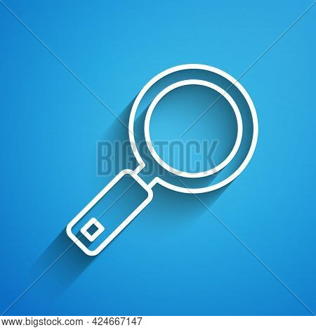 White Line Magnifying Glass Icon Isolated On Blue Background. Search, Focus, Zoom, Business Symbol.