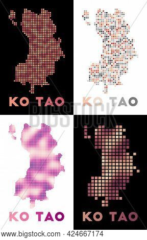 Ko Tao Map. Collection Of Map Of Ko Tao In Dotted Style. Borders Of The Island Filled With Rectangle