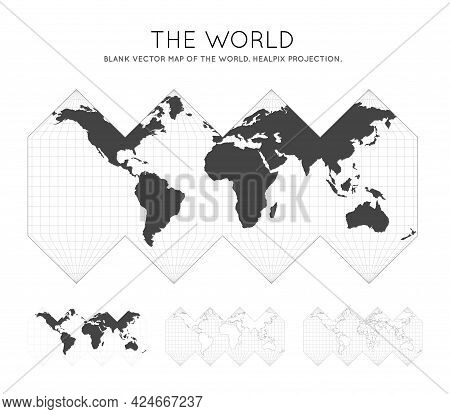 Map Of The World. Healpix Projection. Globe With Latitude And Longitude Lines. World Map On Meridian