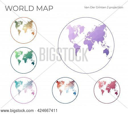 Low Poly World Map Set. Van Der Grinten Ii Projection. Collection Of The World Maps In Geometric Sty