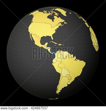 Panama On Dark Globe With Yellow World Map. Country Highlighted With Blue Color. Satellite World Pro