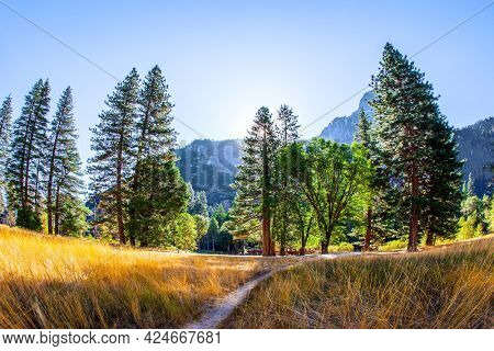 The Sierra Nevada. Majestic mountains surround the Yosemite Valley. Great trip into the wild. Yosemite Park - huge and picturesque park in California, USA