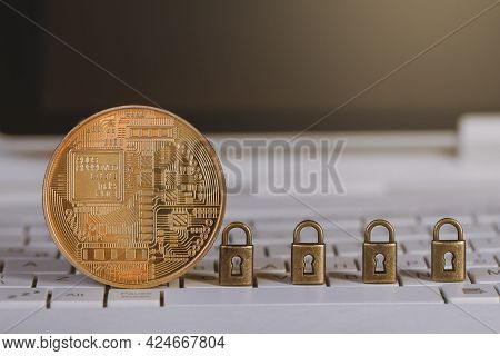 Bitcoin, Cryptocurrency With Locks On White Keyboard. Cryptocurrency Mining, Blockchain Technology,