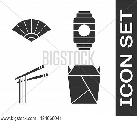 Set Rstaurant Opened Take Out Box Filled, Paper Chinese Or Japanese Folding Fan, Asian Noodles And C