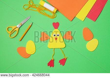 Craft Chicken From Paper Or Eva Foam. Spring Creative For Kids. Diy Concept. Easy Handmade Paper Cra